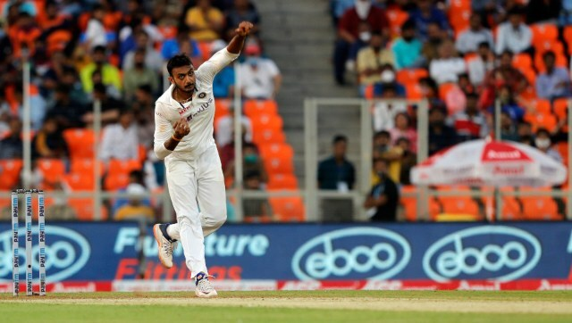 Axar Patel claimed a career-best six wickets for 38 runs as India took control of the third Test at Motera. Image courtesy: SportzPics