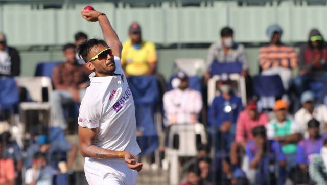 Axar Patel of India bowls during day three of the second PayTM test match between India and England held at the Chidambaram Stadium stadium in Chennai, Tamil Nadu, India on the 15th February 2021 Photo by Pankaj Nangia/ Sportzpics for BCCI