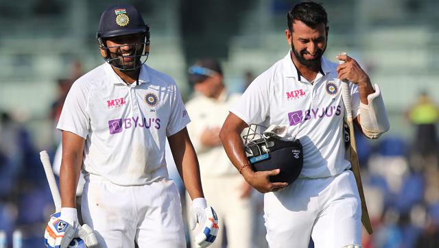 India's Rohit Sharma and Cheteshwar Pujara during Day 2 of the second Test match between India and England held at the Chidambaram Stadium Stadium in Chennai. Sportzpics for BCCI