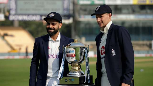 Virat Kohli (captain) of India and Joe Root (captain) of England posing with Test series Trophy during day one of the first test match between India and England held at the Chidambaram Stadium stadium in Chennai, Tamil Nadu, India on the 5th February 2021. Sportzpics