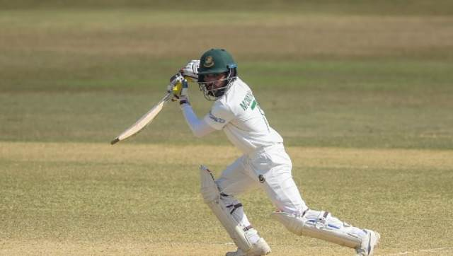 Mominul completed his 10th century off 173 balls, pushing the ball toward cover for a quick single. AFP