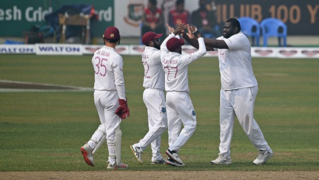 West Indies' Rahkeem Cornwall celebrates after picking up a five-fer against Bangladesh. Twitter@windiescricket