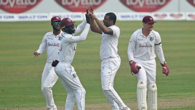 Shannon Gabriel celebrates the wicket of Bangladesh's Najmul Hossain. AFP