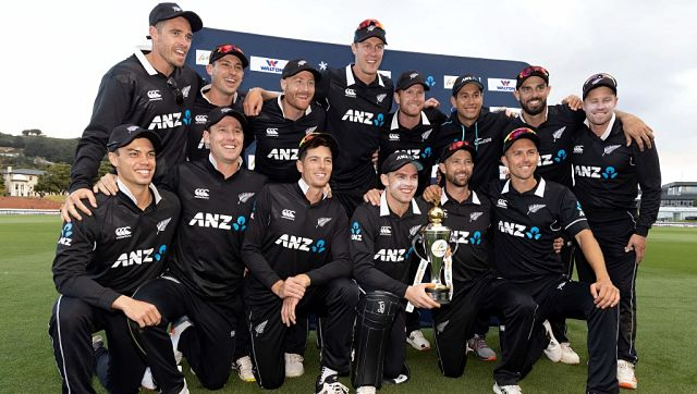 New Zealand pose with the trophy at the end of their series win over Bangladesh. AFP