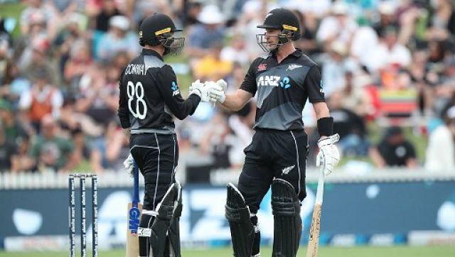 New Zealand's Devon Conway (L) and Will Young in action during the first T20I against Bangladesh. AFP