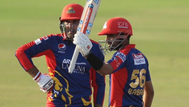 Babar Azam and Mohammad Nabi stitched a match-winning 118-run stand for the fourth wicket. Image credit: Twitter/@KarachiKingsARY
