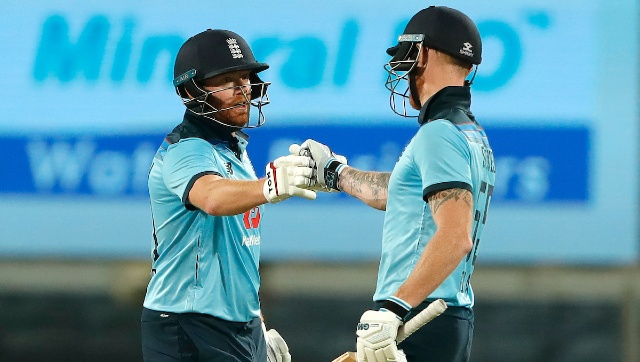 Ben Stokes (99 off 62) missed out on a deserving hundred after a blazing 165-run stand with Jonny Bairstow, who struck 124. Sportzpics