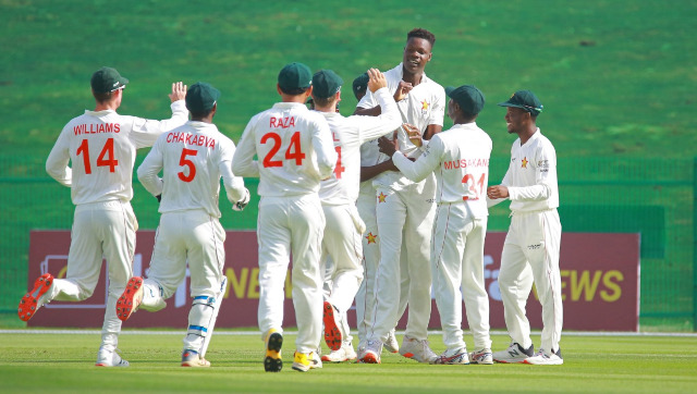 Zimbabwe pacer Blessing Muzarabani took 4/48 to help restrict Afghanistan to a modest 131 in their first innings. Image credit: Twitter/@ICC