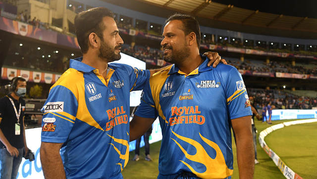 Irfan Pathan and Yusuf Pathan during India Legends match at the Road Safety World Series. Image Courtesy: RSWS