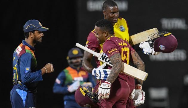 Fabian Allen and Jason Holder celebrate after West Indies' win over Sri Lanka in the third T20I. AFP
