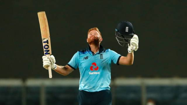 Jonny Bairstow of England celebrates after scoring a hundred during the 2nd One Day International match between India and England held at the Maharashtra Cricket Association Stadium, Pune, India on the 26th March 2021 Photo by Saikat Das / Sportzpics for BCCI