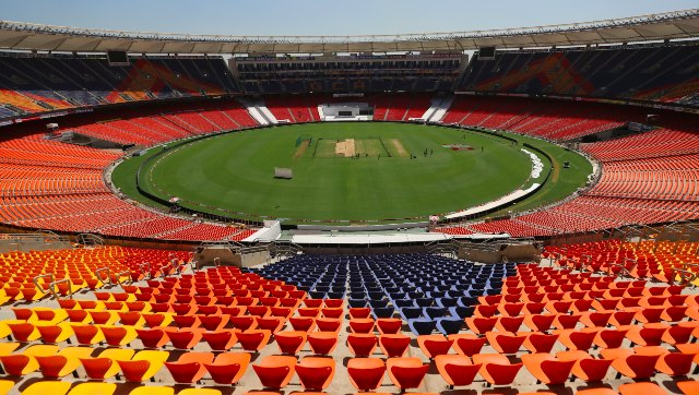General view of the Narendra Modi Stadium in Motera, Ahmedabad, venue of the third and fourth Tests between India and England. AP