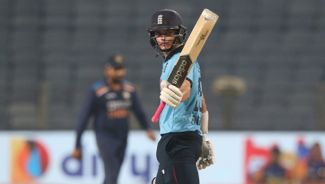 Sam Curran of England celebrates his fifty during the 3rd One Day International match between India and England held at the Maharashtra Cricket Association Stadium, Pune, India on the 28th March 2021 Photo by Pankaj Nangia / Sportzpics for BCCI