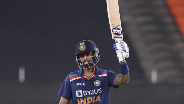 Replays indicated that Dawid Malan had grassed Suryakumar Yadav's catch, however, as the soft signal was out, the third umpire upheld the on-field call. Image: Sportzpics for BCCI