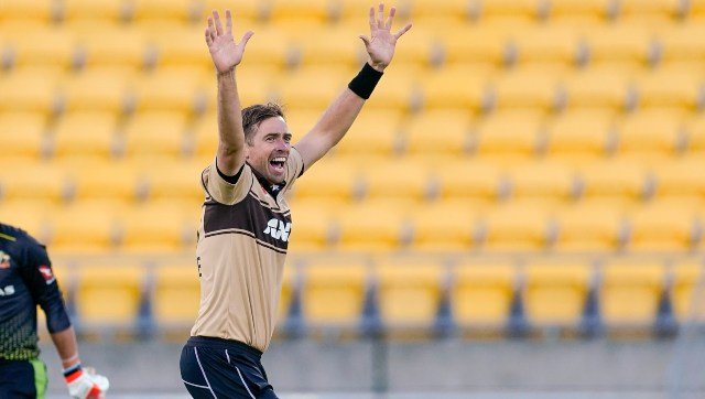 Tim Southee in action against Australia. AP