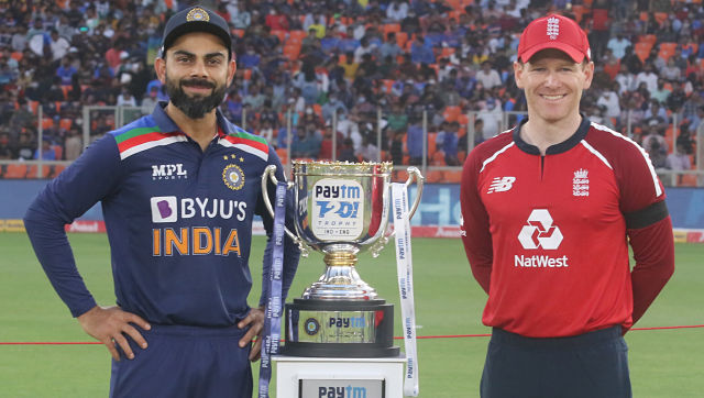 India captain Virat Kohli and England captain pose with the series trophy. Sportzpics for BCCI