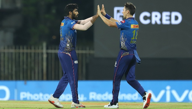 Trent Boult (right) and Jasprit Bumrah in action during IPL 2021. Sportzpics