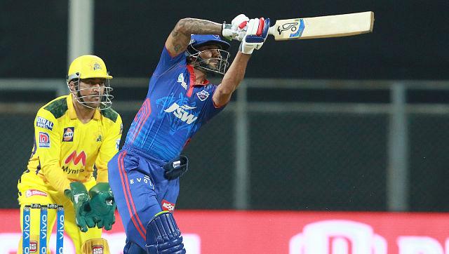 Shikhar Dhawan of Delhi Capitals plays a shot against Chennai Super Kings. Sportzpics
