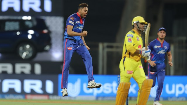Avesh Khan celebrates after getting the wicket of MS Dhoni. SportzPics