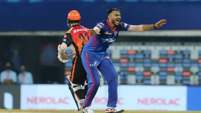 Axar Patel conceded only seven runs in the Super Over paving the way for DC's win over SRH. Image: Sportzpics for IPL