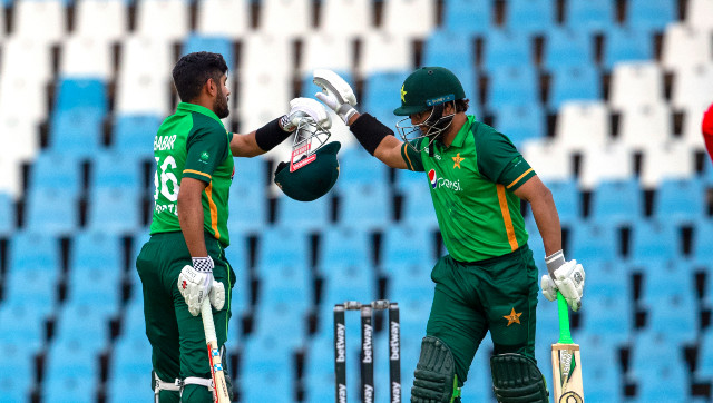 Babar Azam is congratulated by teammate Imam-ul-Haq after completing his 13th ODI ton at Centurion. AP