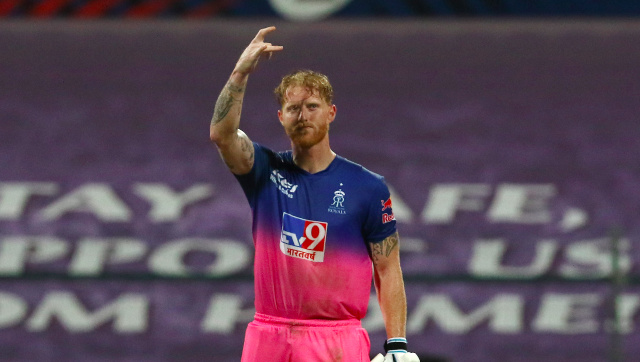 Ben Stokes of Rajasthan Royals celebrates his century during match 45 of season 13 of the Dream 11 Indian Premier League (IPL) between the Rajasthan Royals and the Mumbai Indians at the Sheikh Zayed Stadium, Abu Dhabi in the United Arab Emirates on the 25th October 2020. Photo by: Vipin Pawar / Sportzpics for BCCI