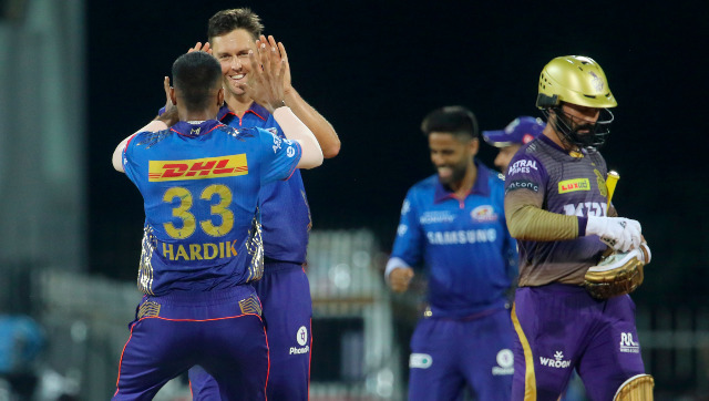 Mumbai Indians pacer Trent Boult dismissed Andre Russell and Pat Cummins in the final over to seal Mumbai Indians' 10-run win over Kolkata Knight Riders. Sportzpics