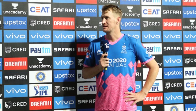 Chris Morris of Rajasthan Royals  during match 18 of the Vivo Indian Premier League 2021 between the Rajasthan Royals and the Kolkata Knight Riders held at the Wankhede Stadium Mumbai on the 24th April 2021. Photo by Ron Gaunt / Sportzpics for IPL