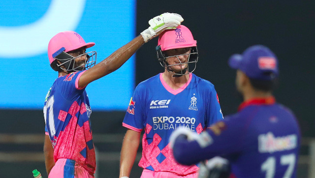 Chris Morris (36 not out) is congratulated by Jaydev Unadkat after guiding Rajasthan Royals to a three-wicket win over Delhi Capitals in Mumbai. Sportzpics