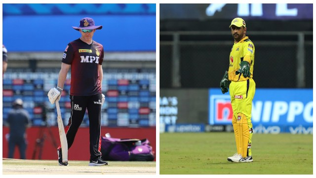 File image of KKR captain Eoin Morgan and CSK captain MS Dhoni. SportzPics