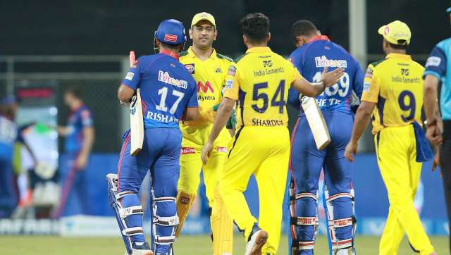 Rishabh Pant of Delhi Capitals(C) shake hands after win the match during match 2 of the Vivo Indian Premier League 2021 between Chennai Super Kings and the Delhi Capitals held at the Wankhede Stadium, Mumbai on the 10th April 2021. Photo by Rahul Gulati / Sportzpics for IPL