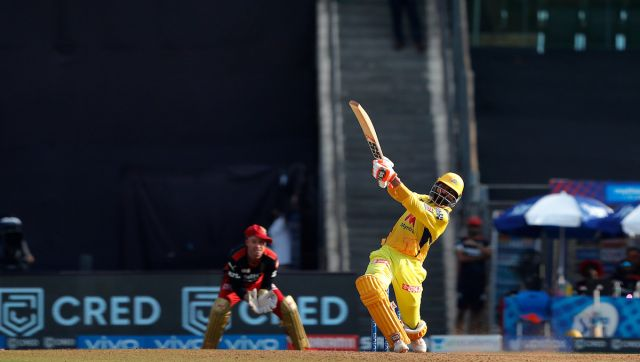 Ravindra Jadeja of Chennai Super Kings hitting a over boundary during match 19 of the Vivo Indian Premier League 2021 between the Chennai Super Kings and the Royal Challengers Bangalore held at the Wankhede Stadium Mumbai on the 25th April 2021. Photo by Saikat Das / Sportzpics for IPL