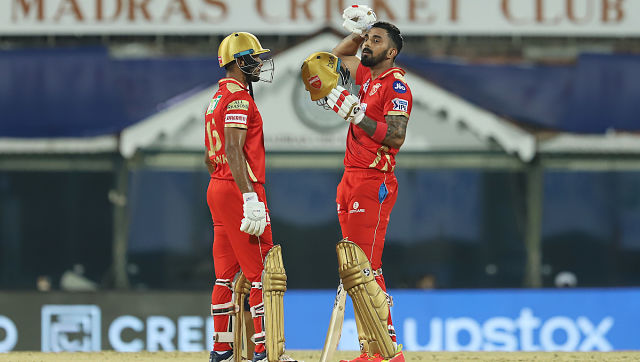 KL Rahul and Mayank Agarwal of Punjab Kings talk after a boundary against Mumbai Indians at the MA Chidambaram Stadium. Sportzpics for IPL