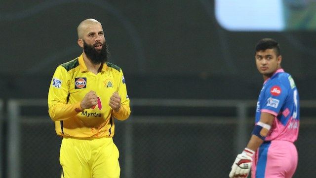 Moeen Ali of Chennai Super Kings celebrates the wicket of David Miller of Rajasthan Royals during match 12 of the Vivo Indian Premier League 2021 between the Chennai Super Kings and the Rajasthan Royals held at the Wankhede Stadium Mumbai on the 19th April 2021. Photo by Deepak Malik/ Sportzpics for IPL
