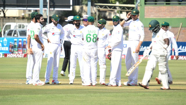 Pakistan celebrate the fall of a wicket on Day 1 of the first Test against Zimbabwe in Harare. Image credit: Twitter/@ICC