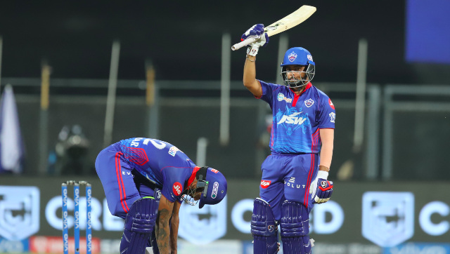 Delhi Capitals opener Prithvi Shaw raises his bat after scoring a fifty against Chennai Super Kings in Mumbai. Sportzpics