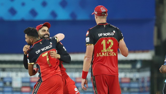 Royal Challengers Bangalore players great each other after the match 10 of the Vivo Indian Premier League 2021 between the Royal Challengers Bangalore and the Kolkata Knight Riders held at the M. A. Chidambaram Stadium, Chennai on the 18th April 2021. Photo by Faheem Hussain / Sportzpics for IPL
