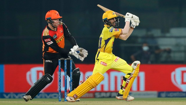 Rururaj Gaikwad relied on picking the gaps to score at a rapid pace against SRH. Image: Sportzpics