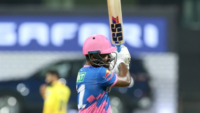 Sanju Samson scored 119 in RR's first match of IPL 2021 but has since scored only five runs in two games. Image: Sportzpics for IPL