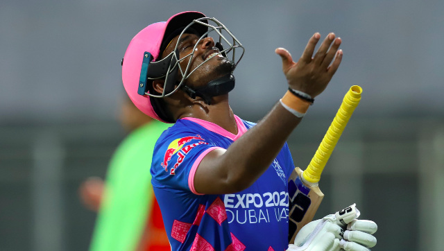 Sanju Samson, captain of Rajasthan Royals, reacts after being dismissed off Punjab Kings pacer Arshdeep Singh off the last delivery of the match. Sportzpics