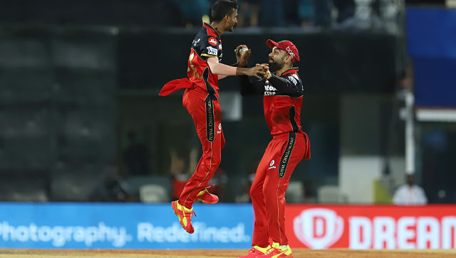 Royal Challengers Bangalore's Shahbaz Ahmed (left) celebrates the wicket of Abdul Samad on Wednesday. Image courtesy: Sportzpics for IPL