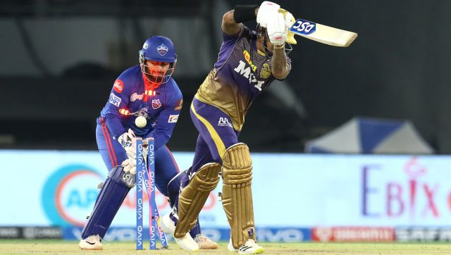 Sunil Narine of Kolkata Knight Riders is bowled by Lalit Yadav of Delhi Capitals during match 25 of the Vivo Indian Premier League 2021 between the Delhi Capitals and the Kolkata Knight Riders held at the Narendra Modi Stadium, Ahmedabad on the 29th April 2021. Photo by: Deepak Malik / Sportzpics for IPL