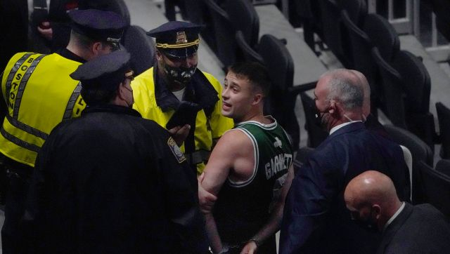 NBA Suns beat Lakers to tie series Nets rout Celtics Boston fan arrested for throwing bottle