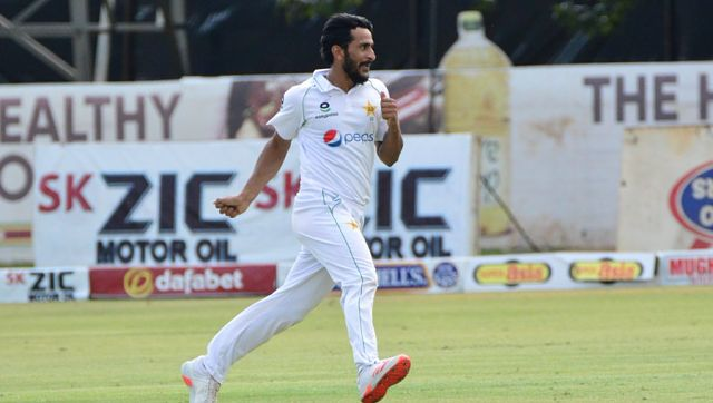Hasan finished with 9-89 in the match as Zimbabwe's batting crumbled for the second time in the match, all out for 134. Image Courtesy: Twitter @TheRealPCB