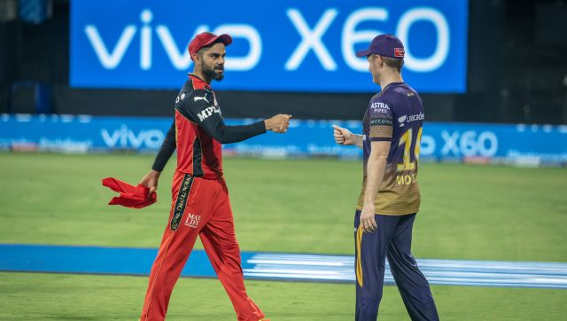 Virat Kohli captain of Royal Challengers Bangalore and Eoin Morgan captain of Kolkata Knight Riders after the match 10 of the Vivo Indian Premier League 2021 between the Royal Challengers Bangalore and the Kolkata Knight Riders held at the M. A. Chidambaram Stadium, Chennai on the 18th April 2021. Photo by Sandeep Shetty / Sportzpics for IPL