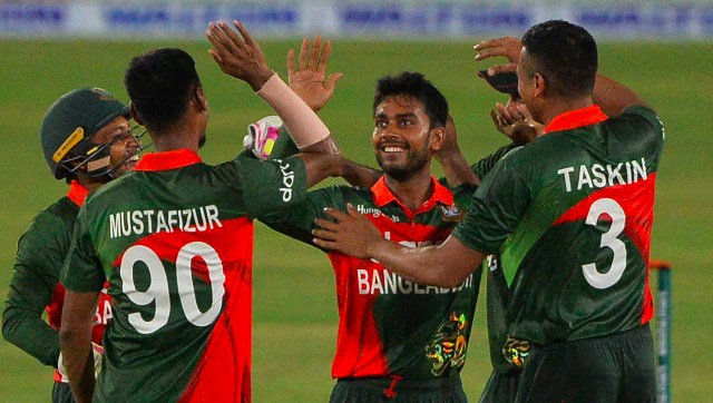 Bangladesh off-spinner Mehidy Hasan Miraz grabbed three wickets for 28 runs in the second ODI against Sri Lanka. Image credit: Twitter/@ICC