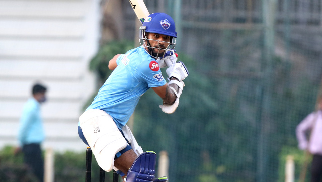 Opener Shikhar Dhawan at a training session during the 2021 Indian Premier League. Delhi Capitals