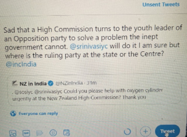 COVID19 After deleted tweet and apology New Zealand high commission gets oxygen cylinders from Congress youth wing
