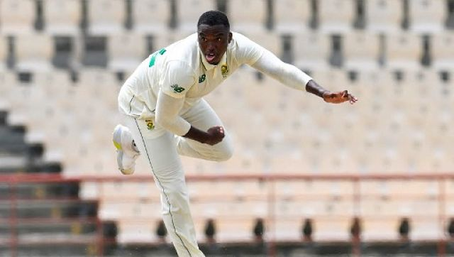 Lungi Ngidi of South Africa in action on day 1 of the 1st Test against West Indies at Darren Sammy Cricket Ground, Gros Islet in Saint Lucia. AFP