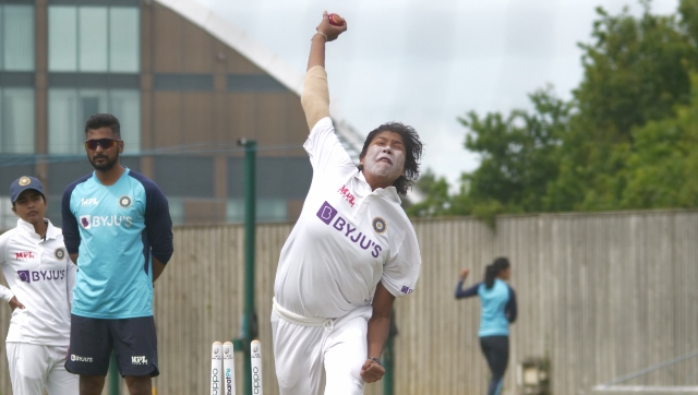 Jhulan Goswami during a practice session ahead of the one-off Test. Twitter/@BCCIWomen